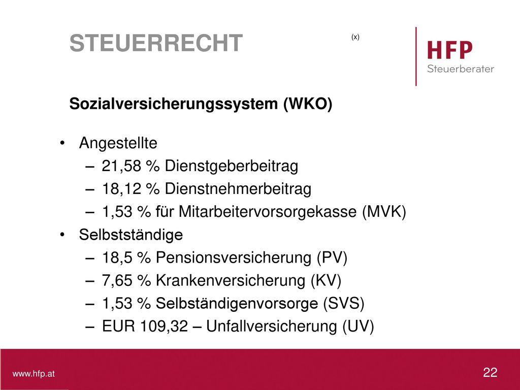 STEUERRECHT Sozialversicherungssystem (WKO) Angestellte