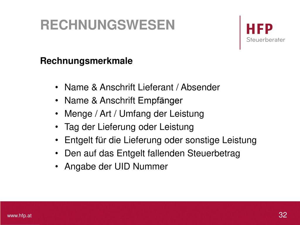 RECHNUNGSWESEN Rechnungsmerkmale Name & Anschrift Lieferant / Absender