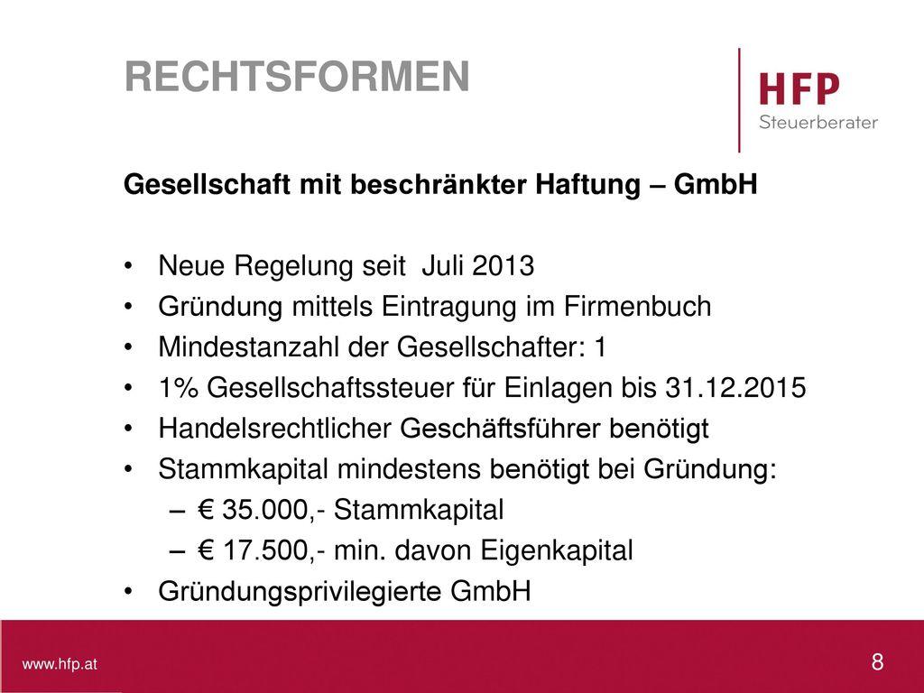 RECHTSFORMEN Gesellschaft mit beschränkter Haftung – GmbH