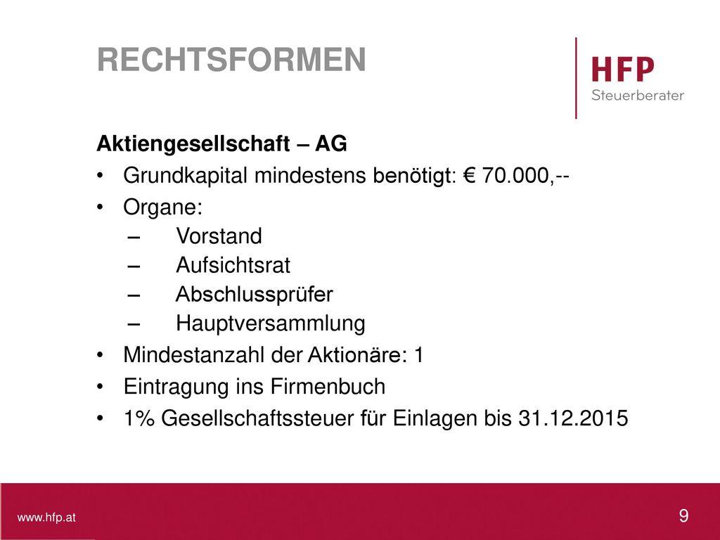 RECHTSFORMEN Aktiengesellschaft – AG