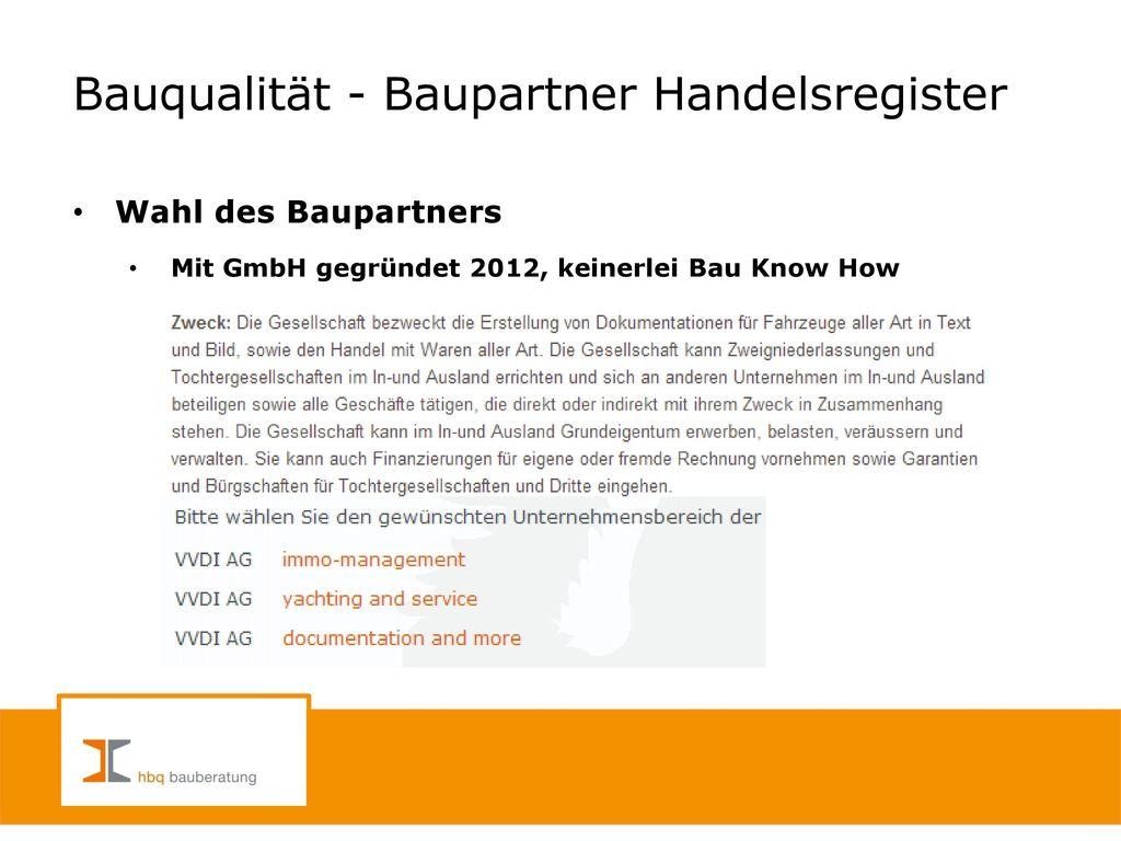 Bauqualität - Baupartner Handelsregister