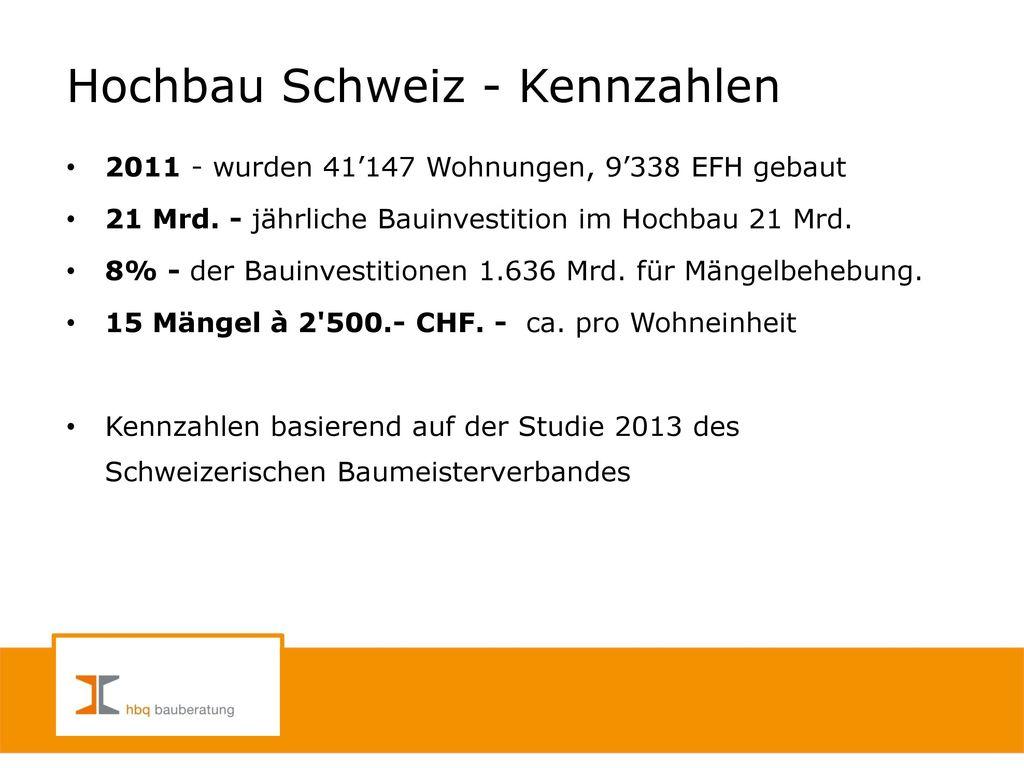 Hochbau Schweiz - Kennzahlen
