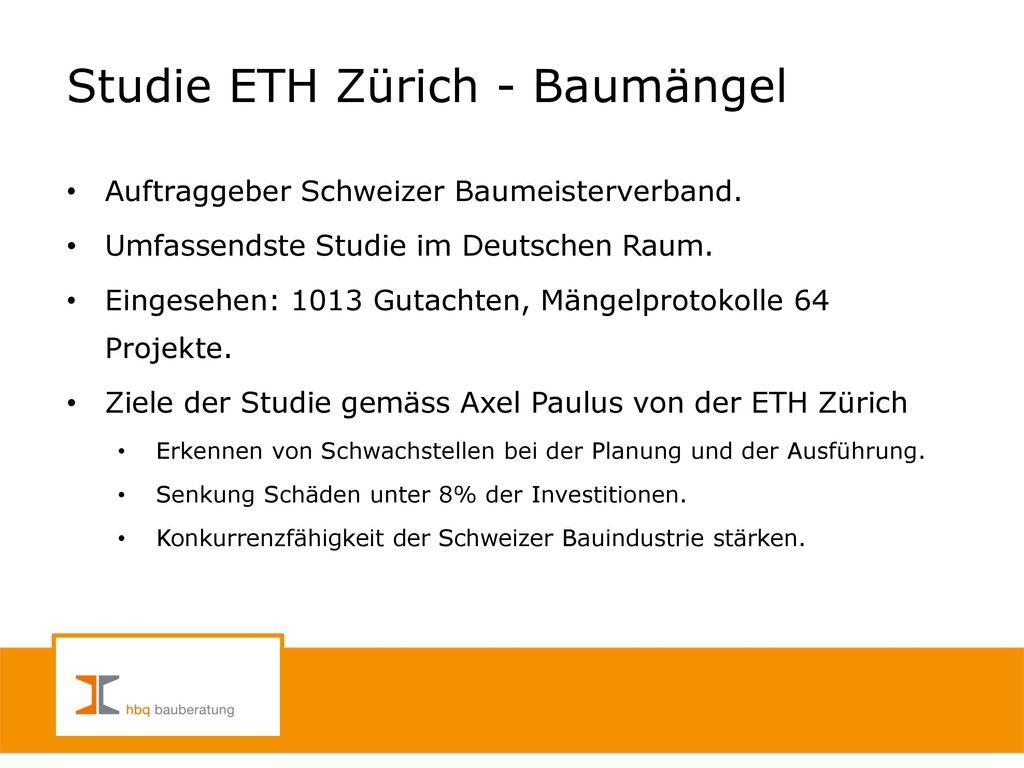 Studie ETH Zürich - Baumängel