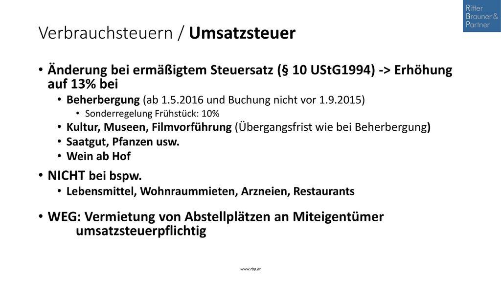 Verbrauchsteuern / Umsatzsteuer