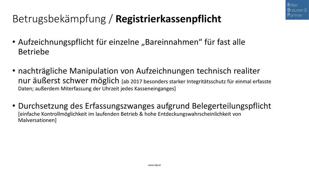 Betrugsbekämpfung / Registrierkassenpflicht