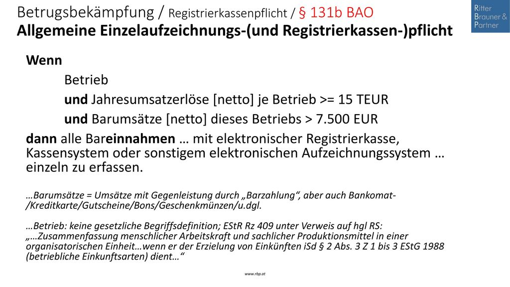 Betrugsbekämpfung / Registrierkassenpflicht / § 131b BAO Allgemeine Einzelaufzeichnungs-(und Registrierkassen-)pflicht
