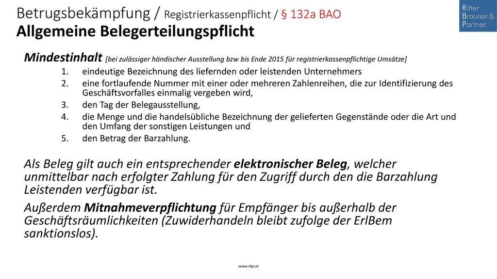 Betrugsbekämpfung / Registrierkassenpflicht / § 132a BAO Allgemeine Belegerteilungspflicht