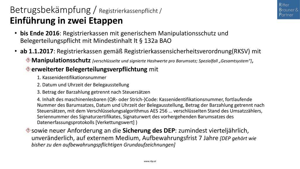Betrugsbekämpfung / Registrierkassenpflicht / Einführung in zwei Etappen
