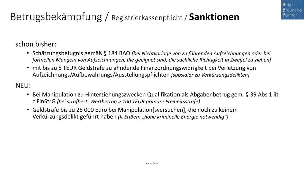 Betrugsbekämpfung / Registrierkassenpflicht / Sanktionen