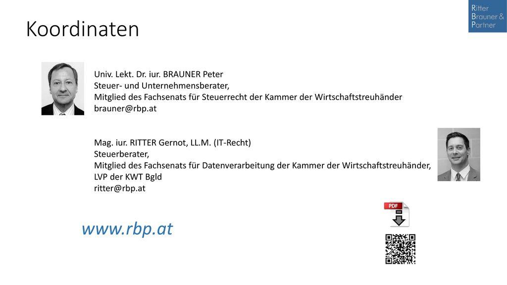 Koordinaten www.rbp.at Univ. Lekt. Dr. iur. BRAUNER Peter