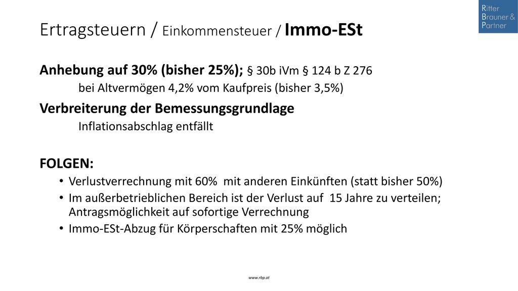 Ertragsteuern / Einkommensteuer / Immo-ESt