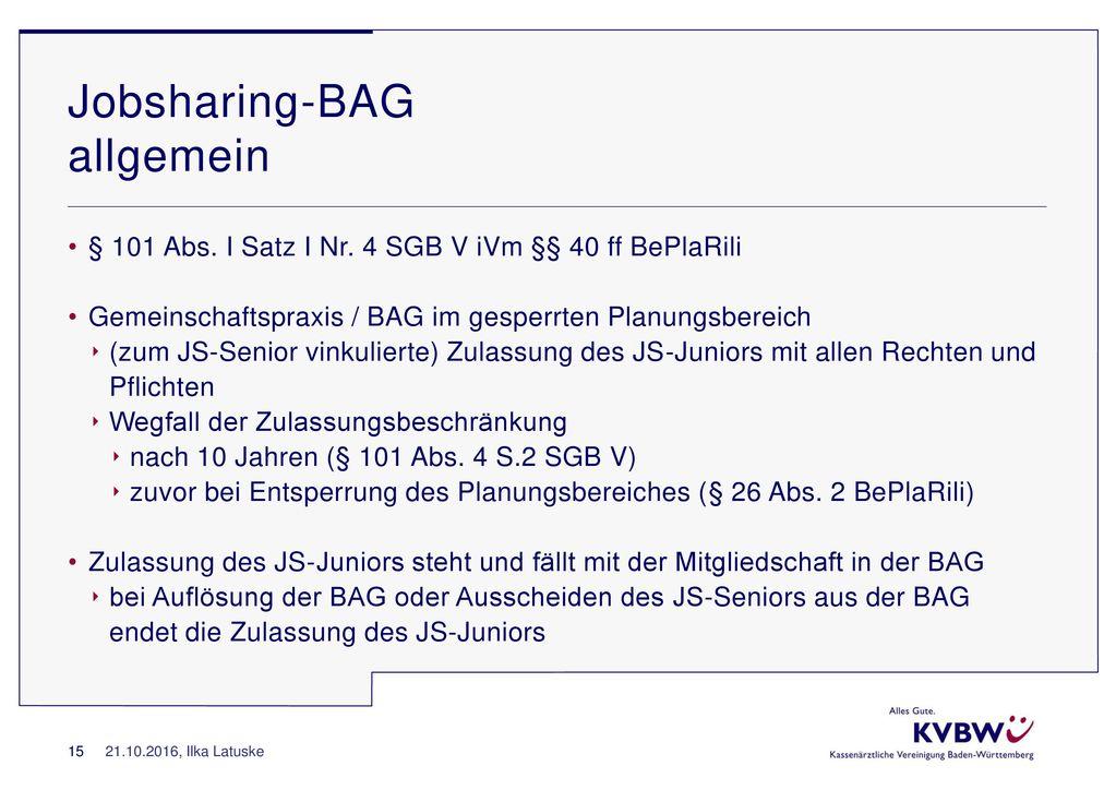 Jobsharing-BAG allgemein