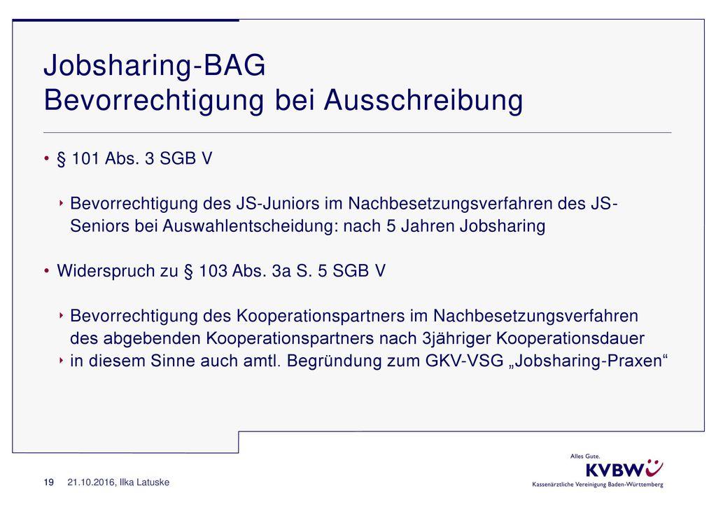 Jobsharing-BAG Bevorrechtigung bei Ausschreibung