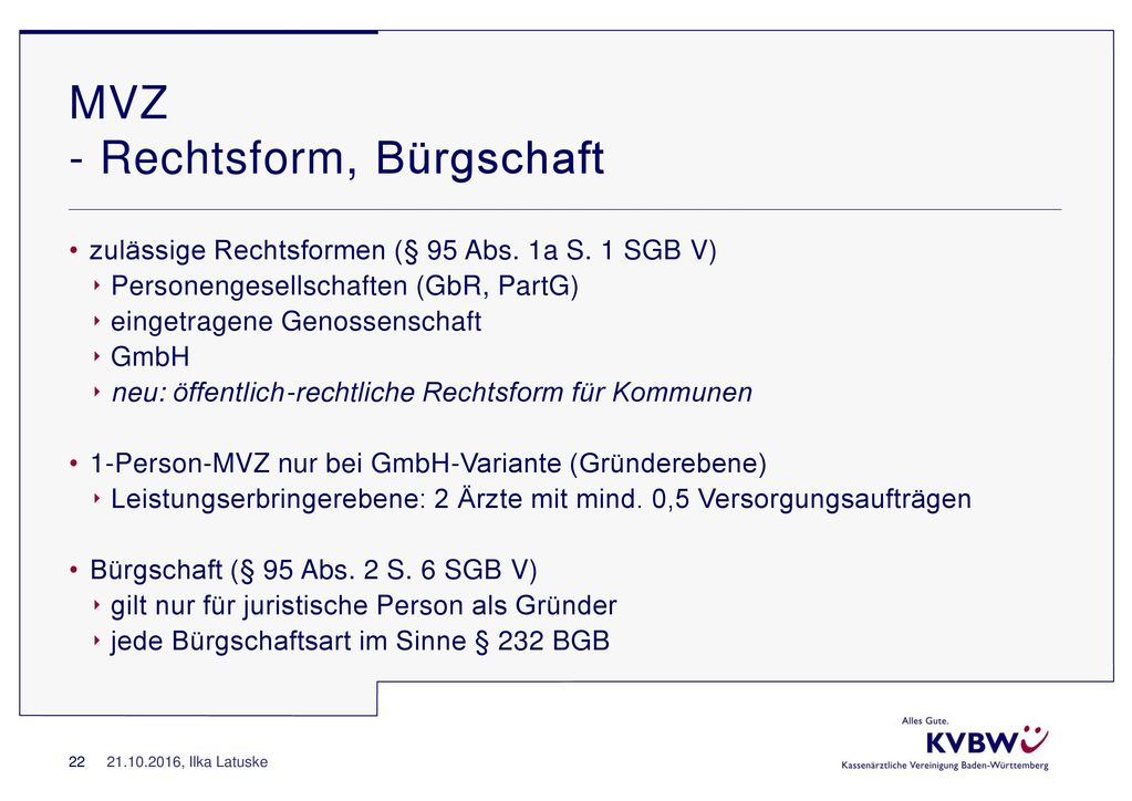 MVZ - Rechtsform, Bürgschaft