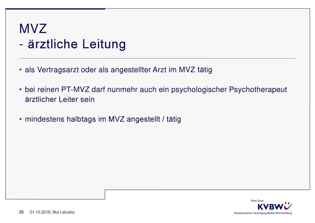 MVZ - ärztliche Leitung