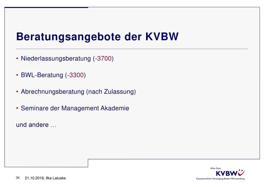 Beratungsangebote der KVBW