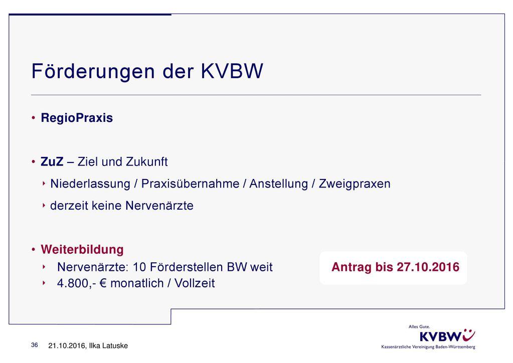 Förderungen der KVBW RegioPraxis ZuZ – Ziel und Zukunft