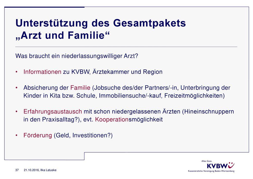 """Unterstützung des Gesamtpakets """"Arzt und Familie"""