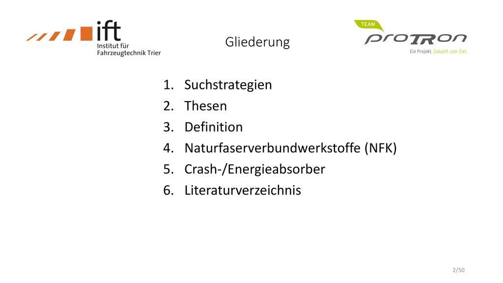 Gliederung Suchstrategien. Thesen. Definition. Naturfaserverbundwerkstoffe (NFK) Crash-/Energieabsorber.