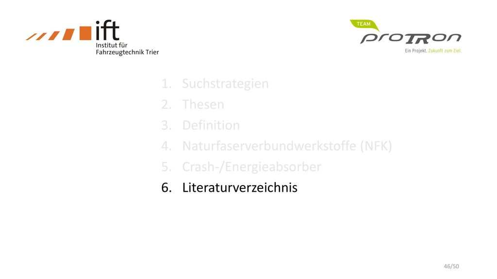 Suchstrategien Thesen. Definition. Naturfaserverbundwerkstoffe (NFK) Crash-/Energieabsorber.