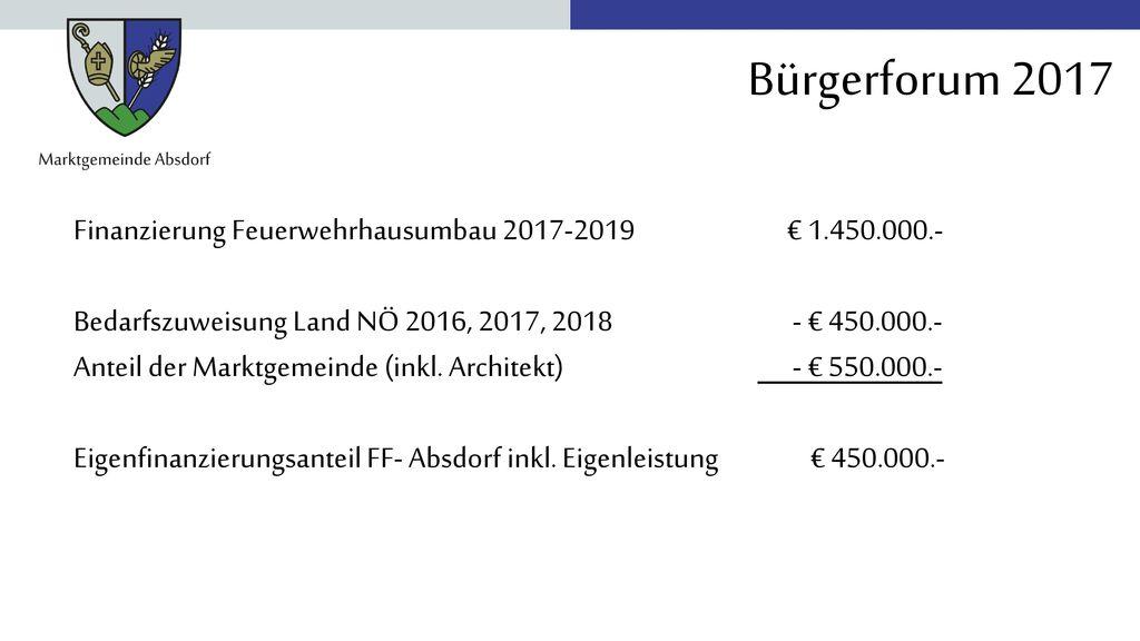 Finanzierung Feuerwehrhausumbau 2017-2019 € 1.450.000.-