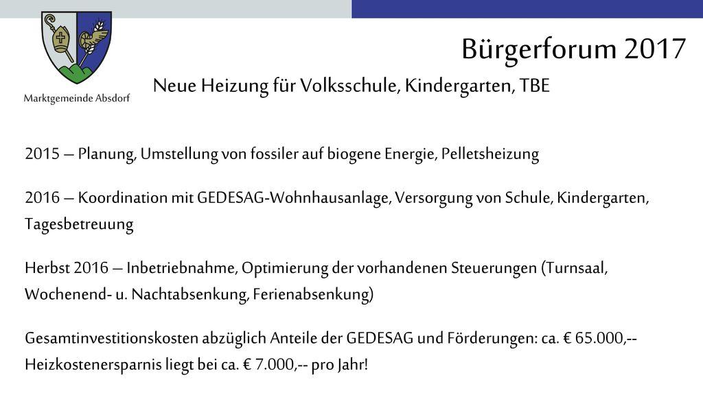 Neue Heizung für Volksschule, Kindergarten, TBE
