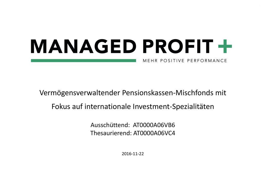 Vermögensverwaltender Pensionskassen-Mischfonds mit