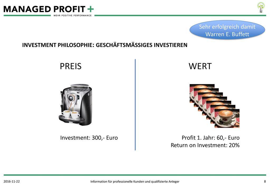 PREIS WERT Sehr erfolgreich damit Warren E. Buffett