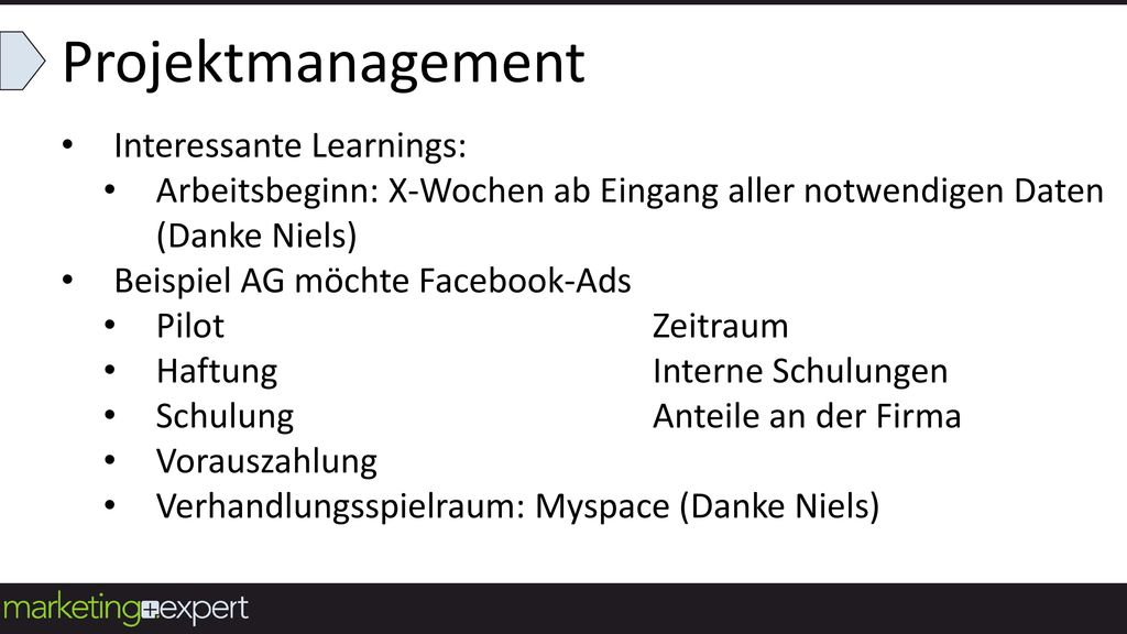 Projektmanagement Interessante Learnings: