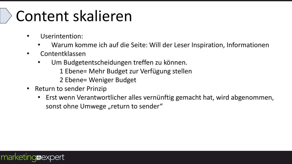 Content skalieren Userintention: