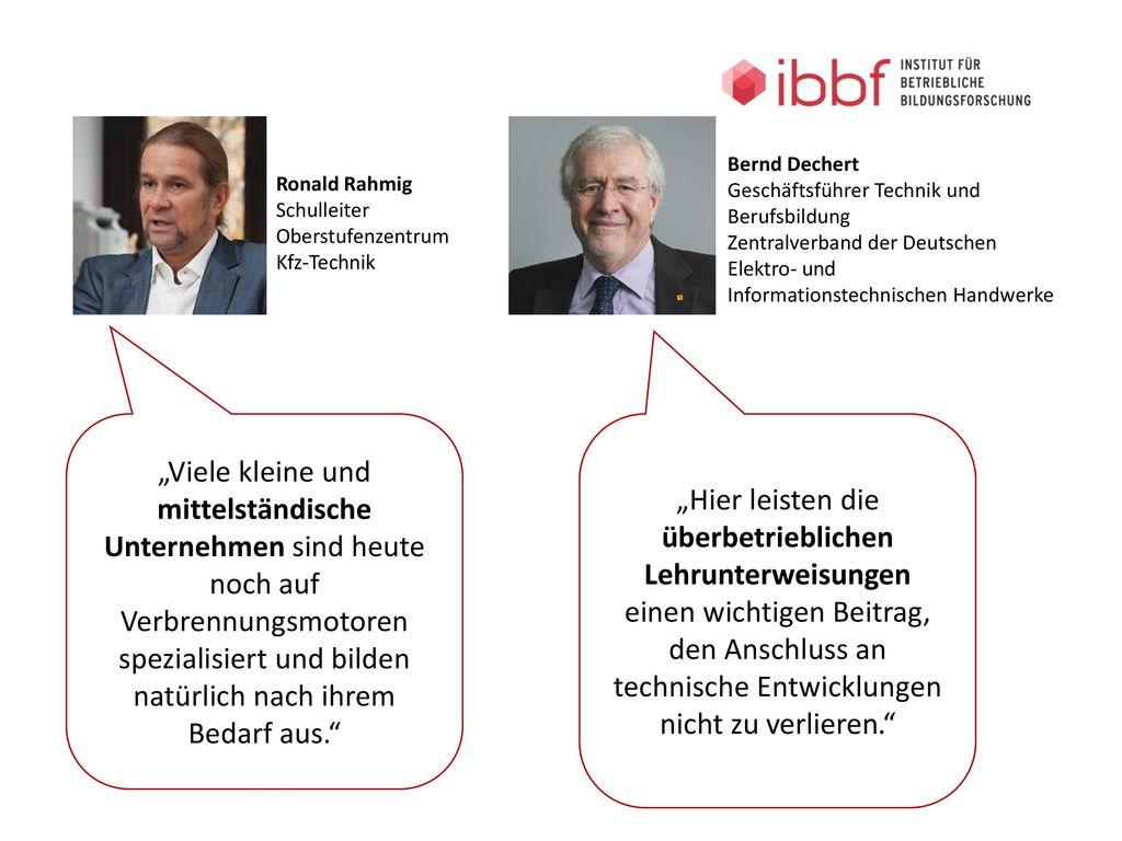 Bernd Dechert Geschäftsführer Technik und Berufsbildung. Zentralverband der Deutschen Elektro- und Informationstechnischen Handwerke.