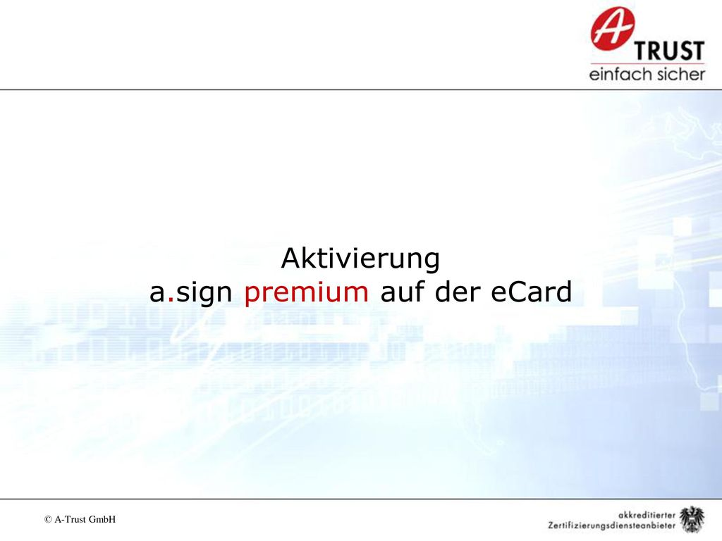 Aktivierung a.sign premium auf der eCard