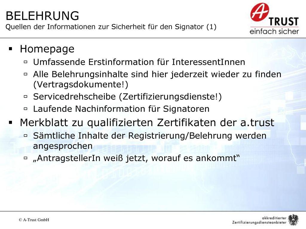 BELEHRUNG Quellen der Informationen zur Sicherheit für den Signator (1)