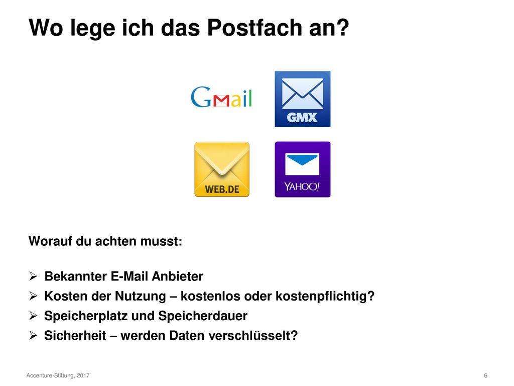 Agenda Dein eigenes Postfach anlegen Deine Mailadresse auswählen