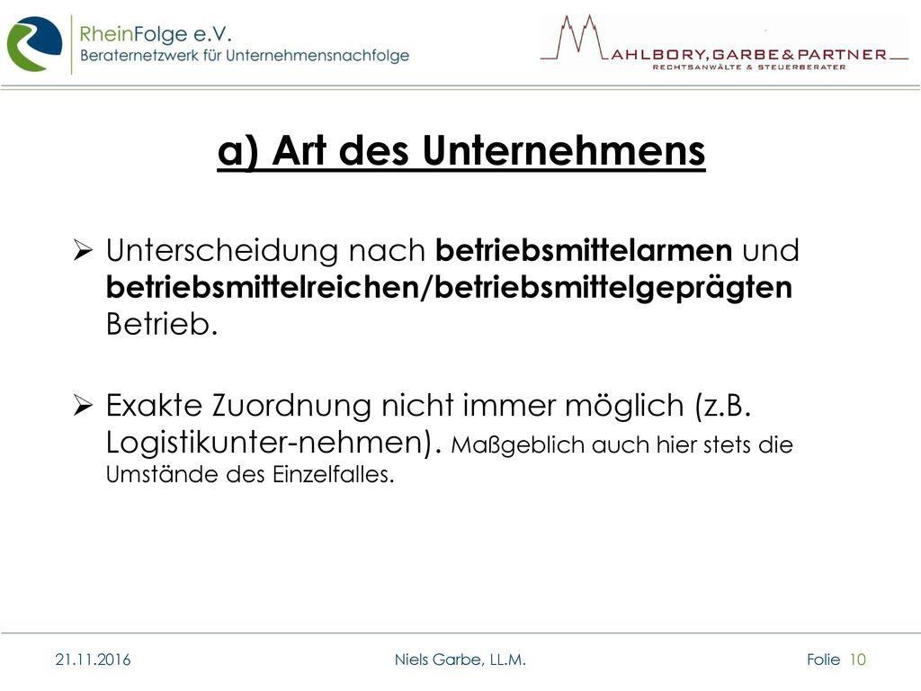 a) Art des Unternehmens