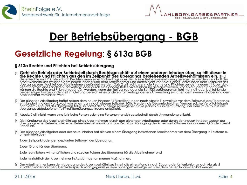 Der Betriebsübergang - BGB