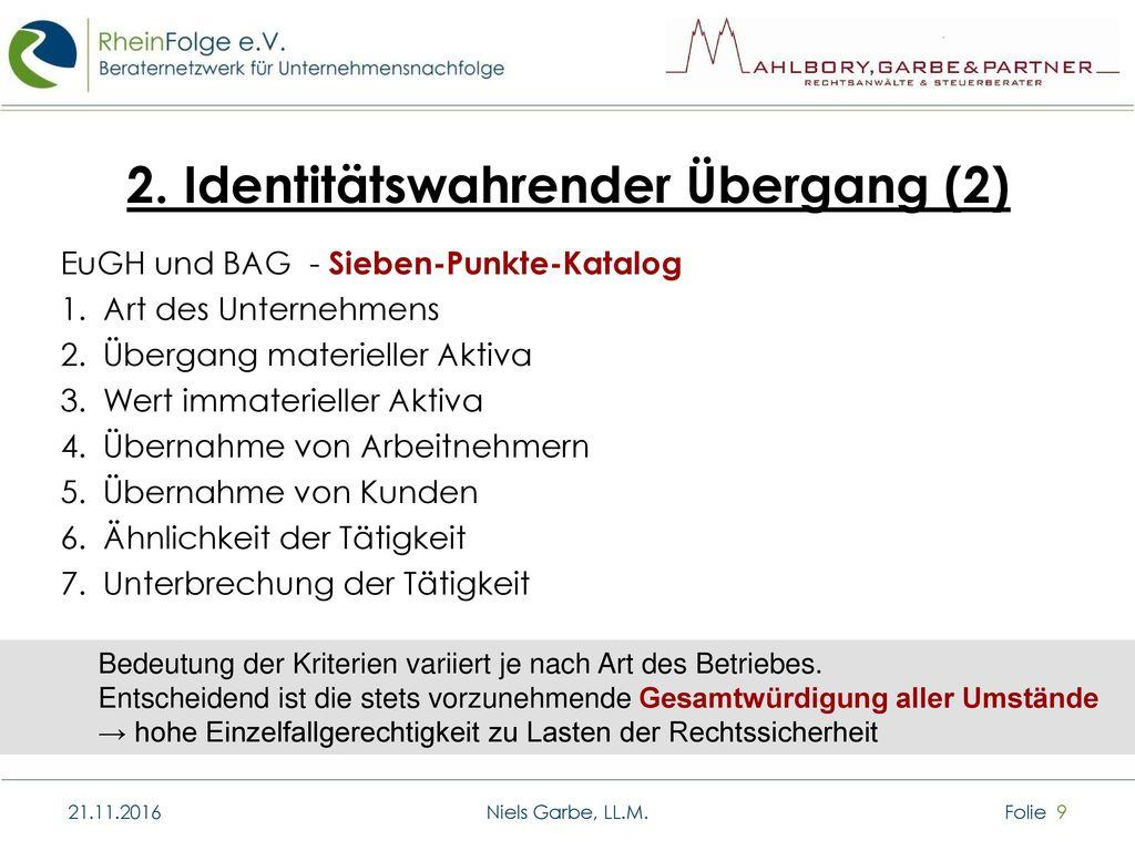 2. Identitätswahrender Übergang (2)