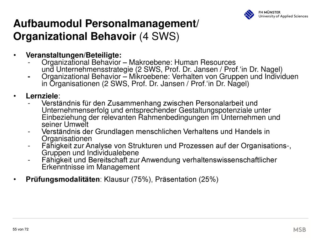 Aufbaumodul Personalmanagement/ Organizational Behavoir (4 SWS)