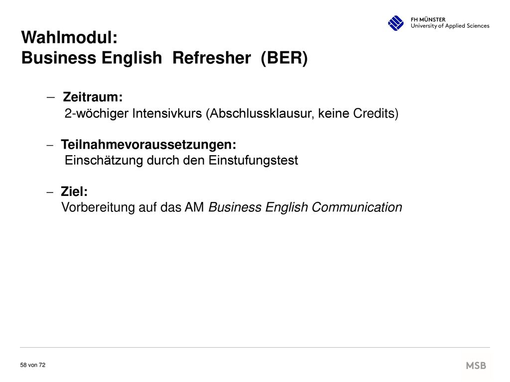 Business English Refresher (BER)