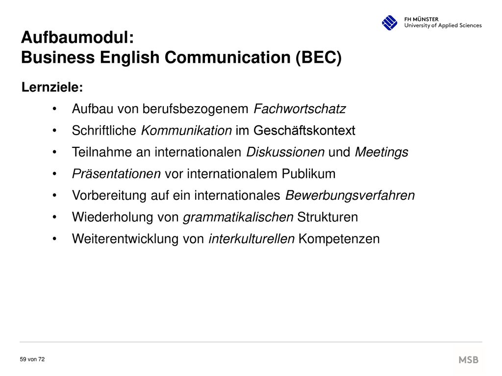 Aufbaumodul: Business English Communication (BEC)