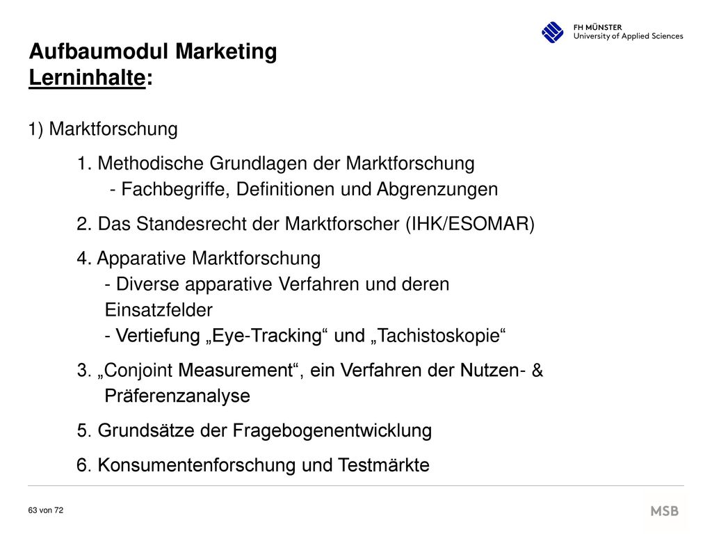 Aufbaumodul Marketing Lerninhalte: