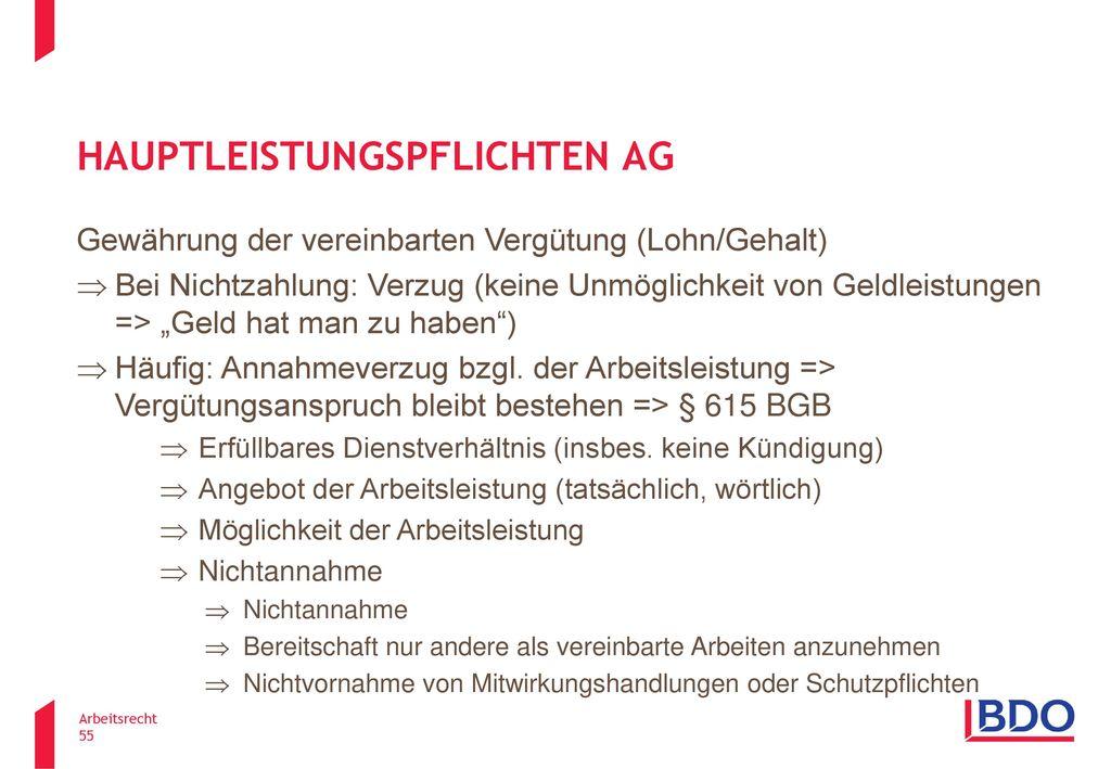 Hauptleistungspflichten AG