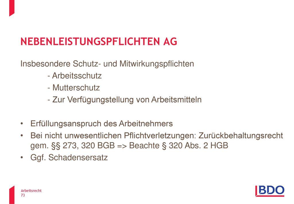Nebenleistungspflichten AG