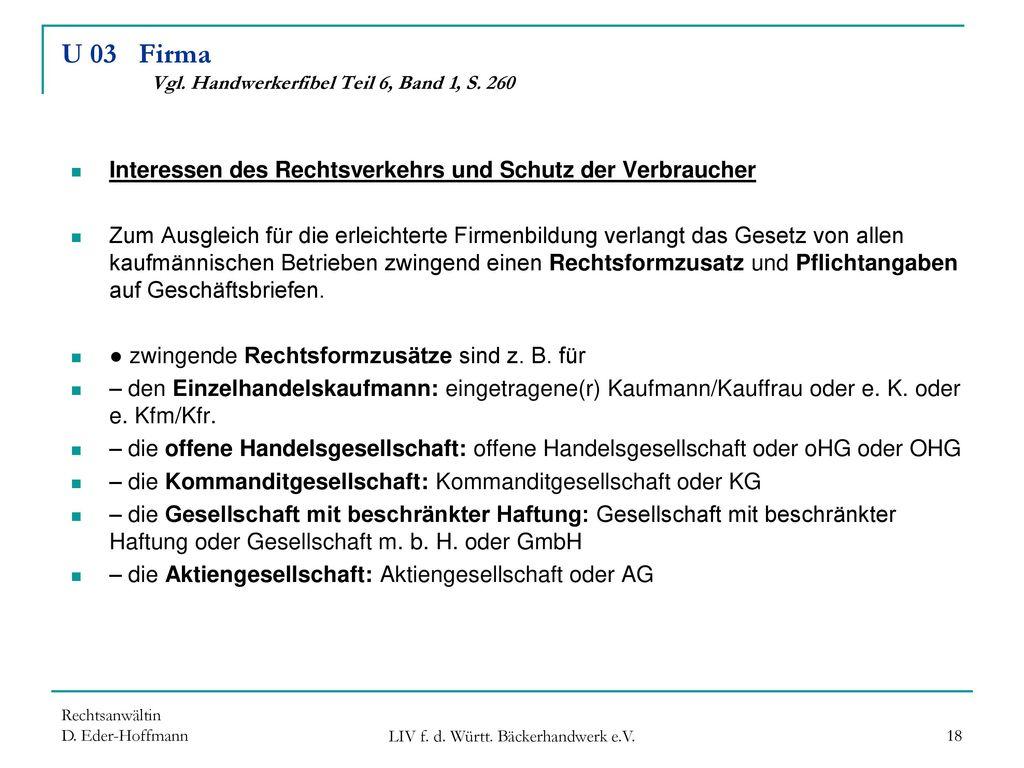 U 03 Firma Vgl. Handwerkerfibel Teil 6, Band 1, S. 260