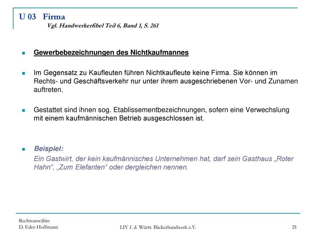 U 03 Firma Vgl. Handwerkerfibel Teil 6, Band 1, S. 261