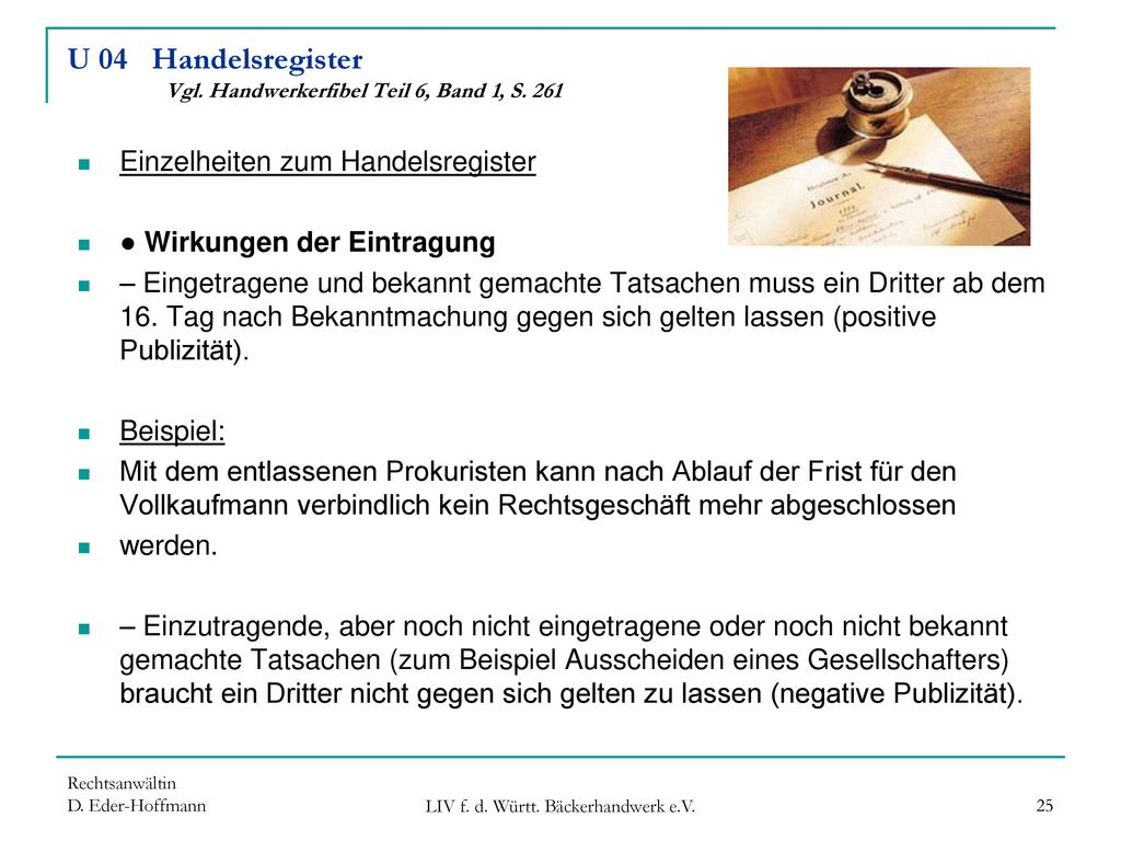U 04 Handelsregister Vgl. Handwerkerfibel Teil 6, Band 1, S. 261
