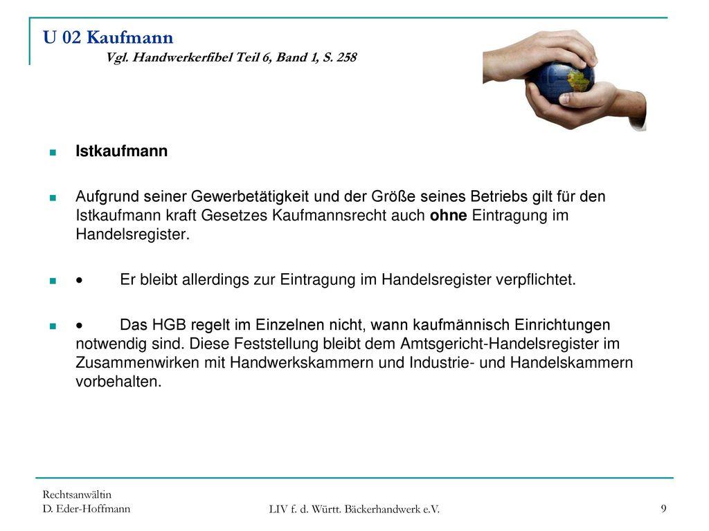U 02 Kaufmann Vgl. Handwerkerfibel Teil 6, Band 1, S. 258
