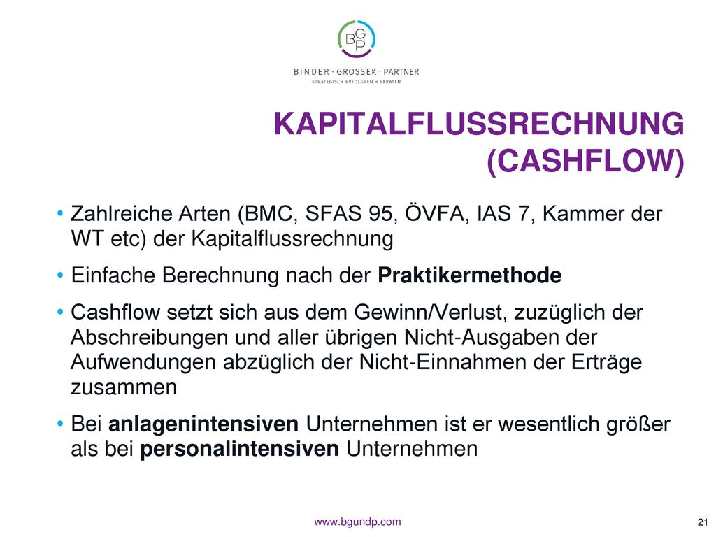 Kapitalflussrechnung (Cashflow)