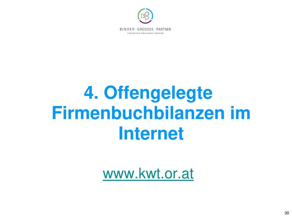 4. Offengelegte Firmenbuchbilanzen im Internet