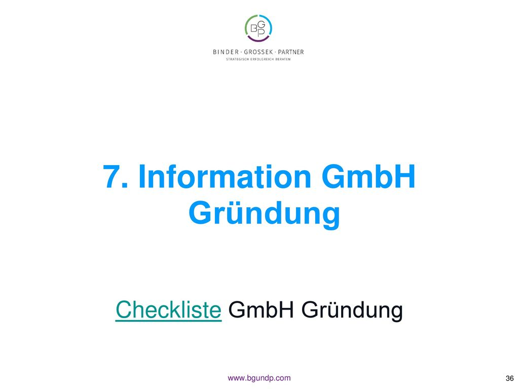 7. Information GmbH Gründung